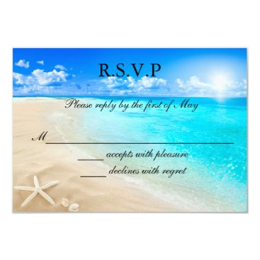 Beach Themed Starfish Beach Wedding RSVP Card Invitation