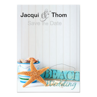 Starfish Beach Wedding Save the Date Card