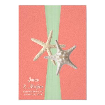 Beach Themed Starfish Beach Wedding Shell Coral Mint Card