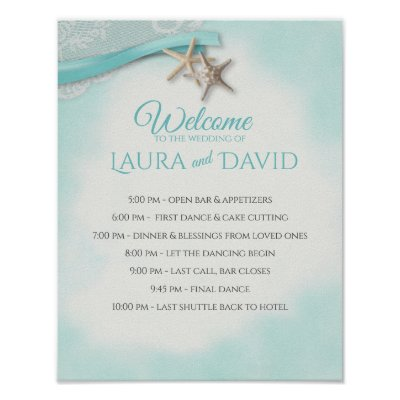 Starfish Beach Wedding Welcome and Timeline Sign