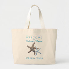 Starfish Beach Wedding Welcome Large Tote Bag at Zazzle