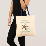 """Starfish Beach Wedding Welcome Tote Bag<br><div class=""""desc"""">Starfish couple, beach wedding welcome bag. Large size tote, with two sea stars in brown and blue, and custom text to welcome guests to a weekend wedding event in a tropical location. Include the city, state, and / or country, and the names of the bride and groom in aqua blue...</div>"""