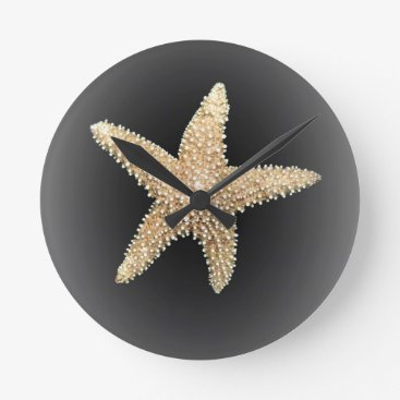 Beach Themed starfish black background round clock