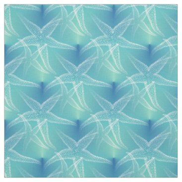 Beach Themed Starfish Blue Aqua Beach Fabric
