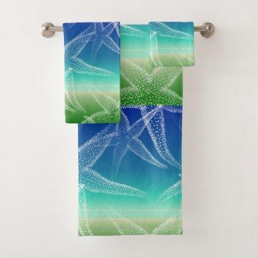 Beach Themed Starfish Blue Green Beach Towel Set