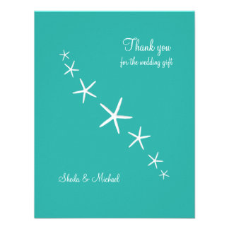 Starfish Blue Lagoon Small Thank You Cards Custom Announcements