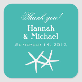 Starfish Blue Personalized Favor Labels Square Sticker