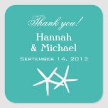 Starfish Blue Personalized Favor Labels Sticker