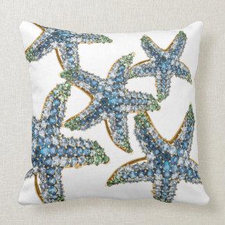 Starfish Blue Rhinestone Stars Costume Jewelry Throw Pillow
