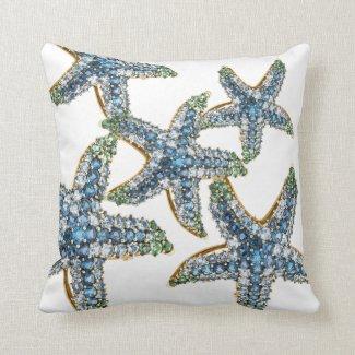 Starfish Blue Rhinestone Stars Costume Jewelry Pillow