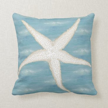 Beach Themed Starfish Blue Sea Pillow