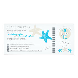 Starfish Boarding Pass | Wedding 4x9.25 Paper Invitation Card