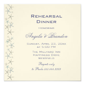 Starfish Border Square Rehearsal Dinner Invitation