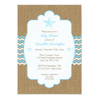 Starfish boy baby shower invites blue burlap