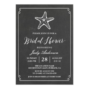 Beach Themed Starfish Bridal Shower | Elegant Chalkboard Look Card