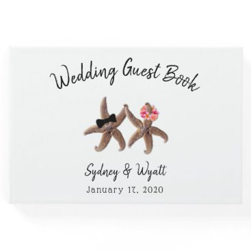 Beach Themed Starfish Bride and Groom Wedding Guest Book