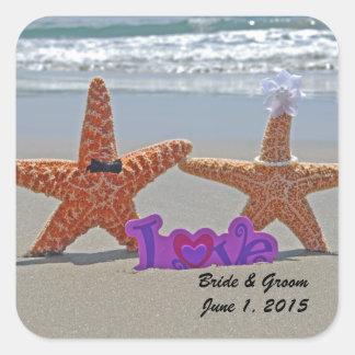 Starfish Bride and Groom Wedding Stickers