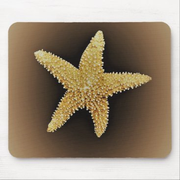 Beach Themed starfish brown background mousepad