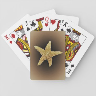 Beach Themed starfish brown background playing cards