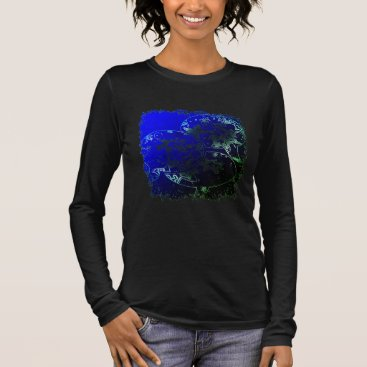 Beach Themed Starfish bubbles and flowers in tropical neon long sleeve T-Shirt
