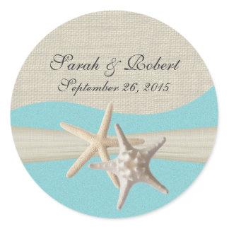 Starfish & Burlap Aqua Classic Round Sticker