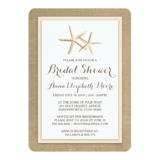 Starfish Burlap Beach Bridal Shower Invitation