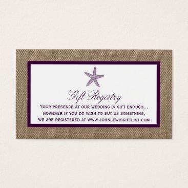 Beach Themed Starfish Burlap Beach Wedding | Choose Your Color Business Card