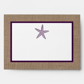 Starfish Burlap Beach Wedding Envelope
