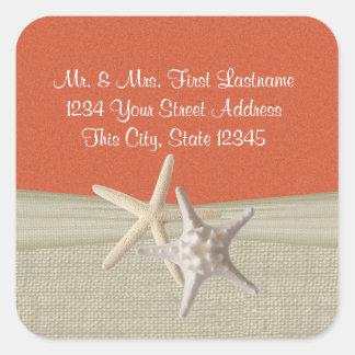 Starfish & Burlap Coral Beach Square Sticker