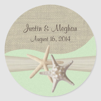 Starfish & Burlap Green Sticker