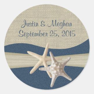 Starfish & Burlap Navy Blue Beach Classic Round Sticker