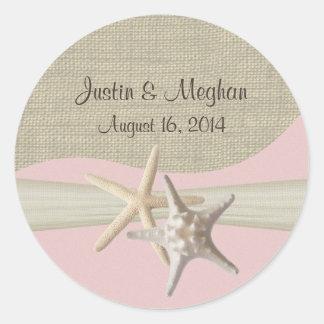 Starfish & Burlap Pink Round Sticker