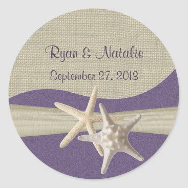 Beach Themed Starfish & Burlap Purple Beach Classic Round Sticker