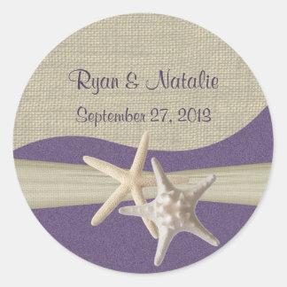 Starfish & Burlap Purple Beach Round Sticker