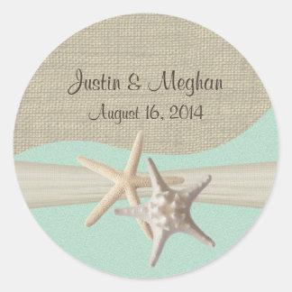 Starfish & Burlap Seafoam Classic Round Sticker