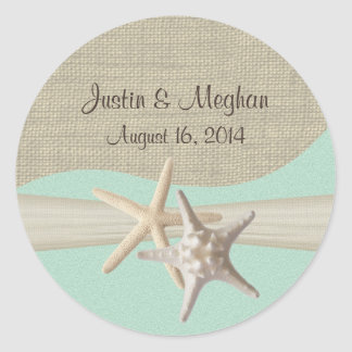 Starfish & Burlap Seafoam Stickers