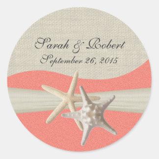 Starfish & Burlap Shell Coral Classic Round Sticker