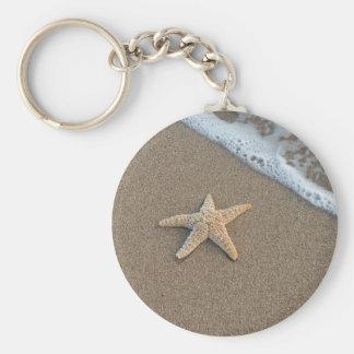 Starfish by the beach basic round button keychain