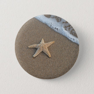 Starfish by the beach pinback button
