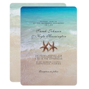 Beach Themed Starfish By the Sea Beach Wedding Invitation