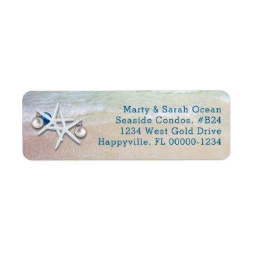 Christmas Themed Starfish Christmas Return Address Beach Life Label