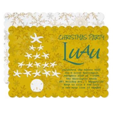 Beach Themed Starfish Christmas Tree Luau Party Card