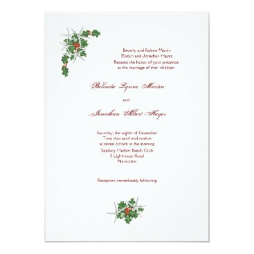 Beach Themed Starfish Christmas Wedding Invitations, White Card