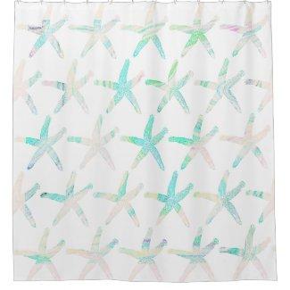 Starfish Coastal Beach Multicolor Teal Patterns Shower Curtain