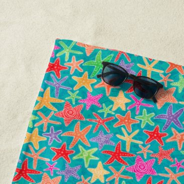 Beach Themed Starfish Colors Beach Towel