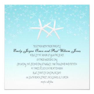 Starfish Confetti Square Blue Beach Wedding Invite
