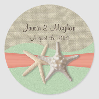 Starfish Coral and Mint Classic Round Sticker
