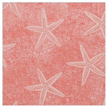 Beach Themed Starfish Coral Pink Fabric