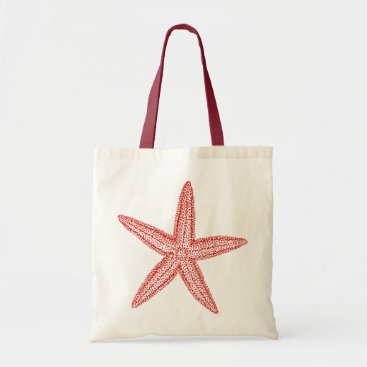 Beach Themed Starfish Coral Pink Tote Bag