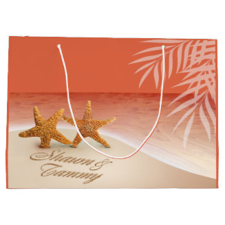 Starfish Couple ASK ME TO PUT NAMES IN SAND Large Gift Bag